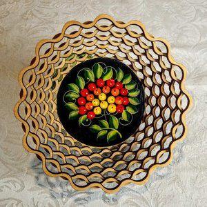 Berries Leaves Laser Cut Tole Painted Wood Basket